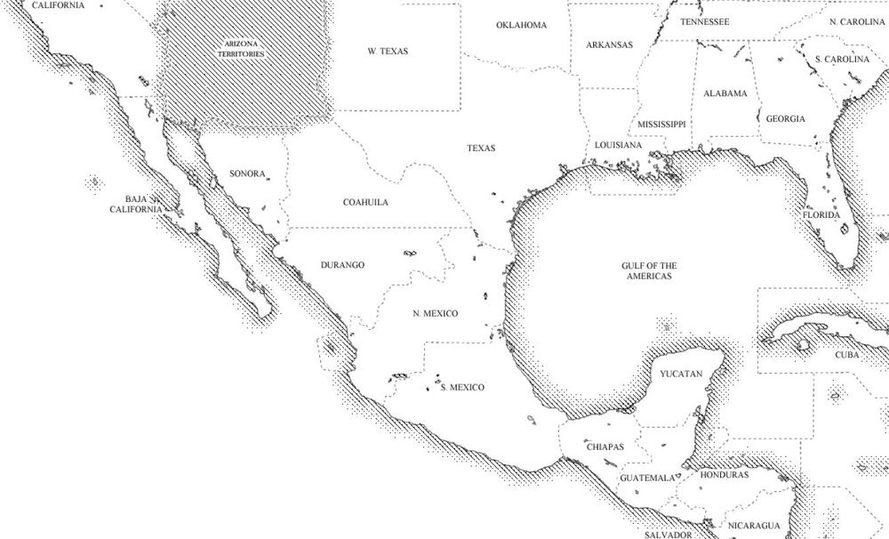 Continuing an expansionist policy after the end of the Ore War, the Union now occupies states as far south as the demilitarised zone beyond the state of West Columbia and New Peru.